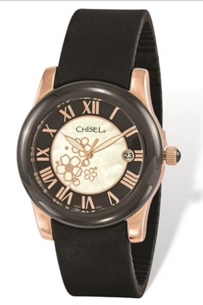 Ladies Chisel Rose IP-Plated Floral Dial Black Strap Watch