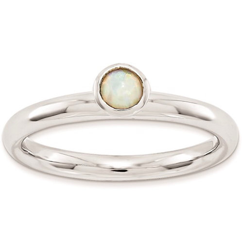 Sterling Silver Stackable Expressions High 4mm Rd. Created Opal Ring