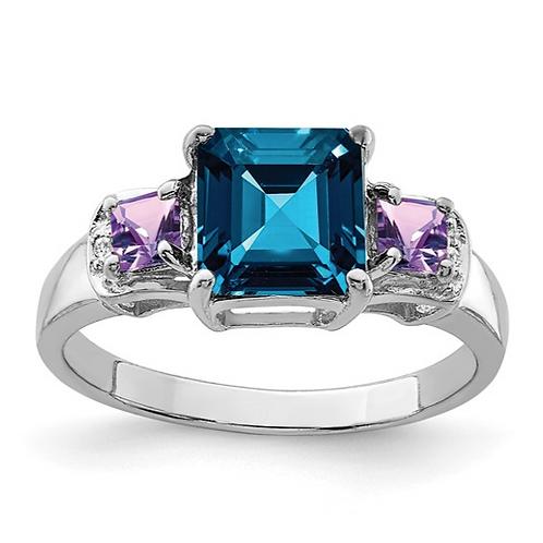 Sterling Silver Rhodium London Blue Topaz, Amethyst and Diam. Ring
