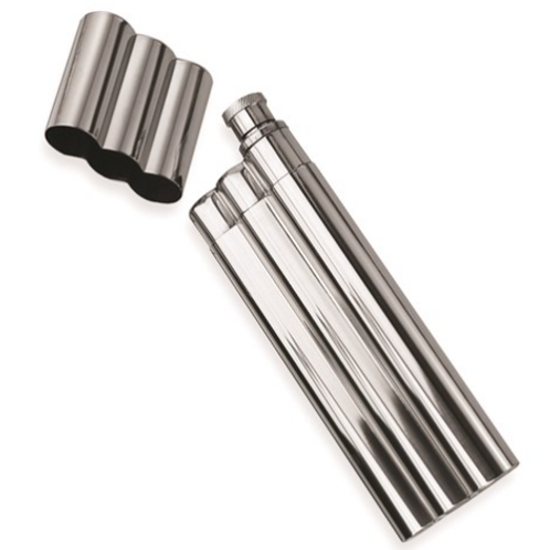 Polished Stainless Steel Two Cigar Holder 1.5oz Flask