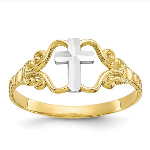 10k and Rhodium Polished Cross Ring