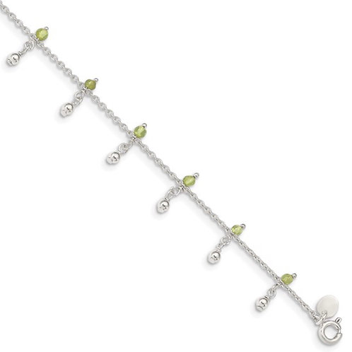 Sterling Silver Peridot Beads Anklet