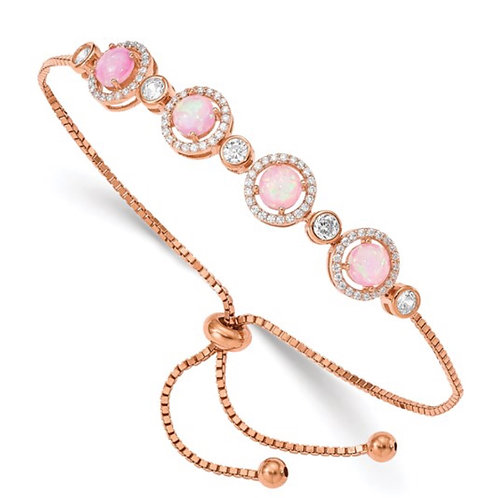 Sterling Silver Rose-tone Created Opal and CZ Adjustable Bracelet
