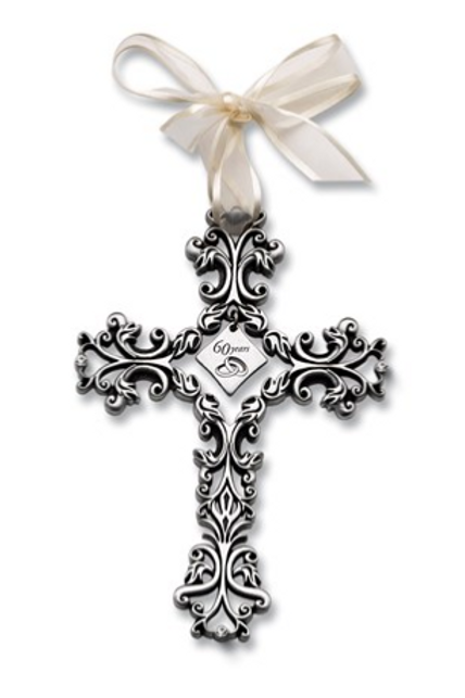 Silver-Tone Filigree 60th Anniversary With Crystal Stones Cross