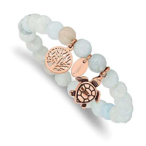 Stainless Steel Antiqued and Polished Rose IP Blue/Grey Dyed Jade Bracelet
