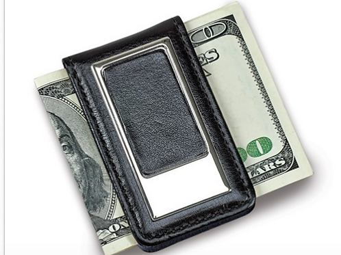 Black Faux Leather Money Clip