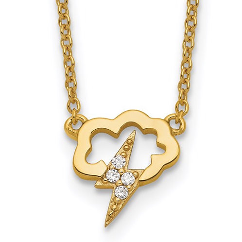 Sterling Silver Gold-tone CZ Storm Cloud with 2in ext Necklace