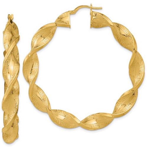 14K Polished and Greek Satin Twisted Hoop Earrings