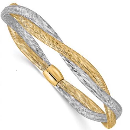14K Two-tone Twisted Woven Mesh Stretch Bracelet