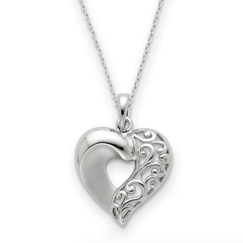 Sterling Silver Close To My Heart 18in Necklace