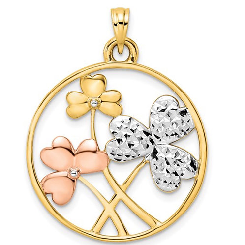 14k With White and Rose Rhodium D/C Clovers Circle Pendant