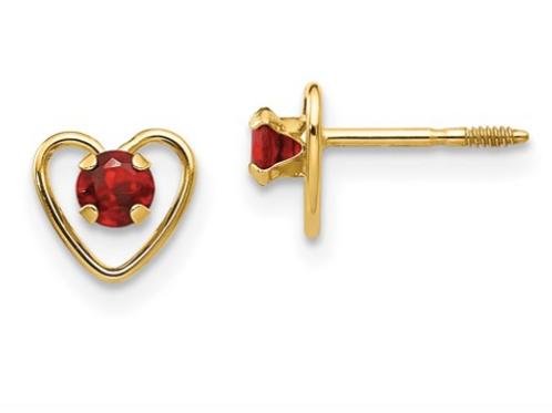 14k Madi K 3mm Garnet Birthstone Heart Earrings