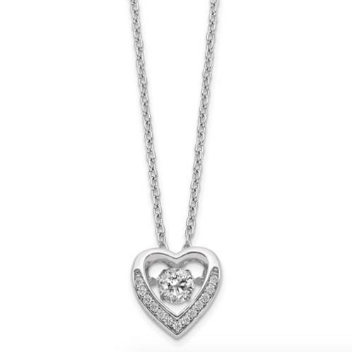 Cheryl M Sterling Silver Rhodium Plated Vibrant CZ Heart 18in Necklace