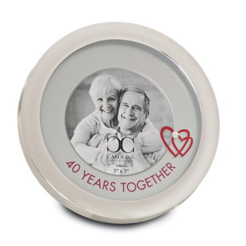 Zinc Alloy 40 Years Together Circle 3x3 Frame