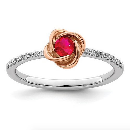 14k Two-tone Polished Rose Ruby and Diamond Ring