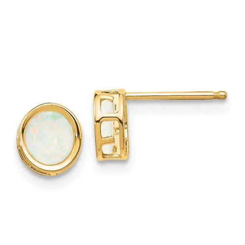14k 5mm Bezel Opal Stud Earrings