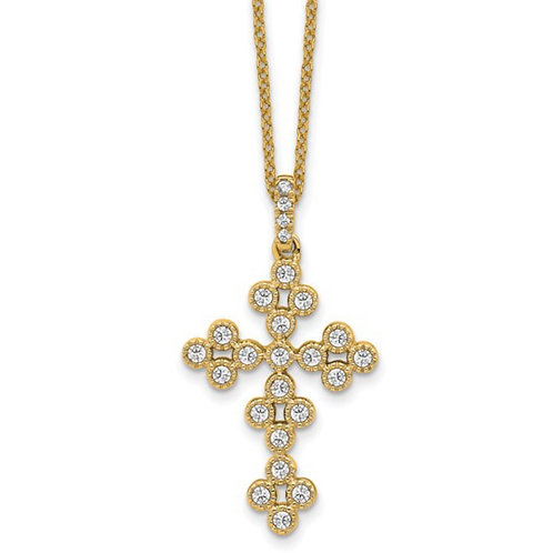 14ky True Origin Lab Grown Diamond VS/SI, D E F, Bloom Fashion Cross Neckl