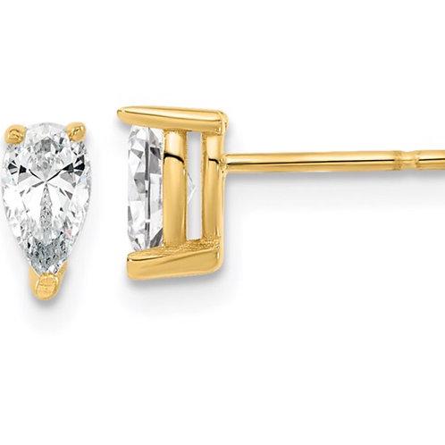 14ky 5.85x3.0mm Pear Lab Grown Diamond SI1/SI2, G H I, Stud Earrings