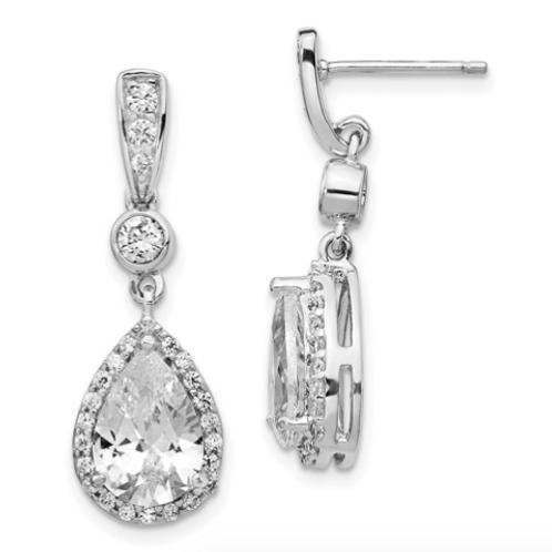 Cheryl M Sterling Silver Rhodium Plated Pear CZ Dangle Post Earrings
