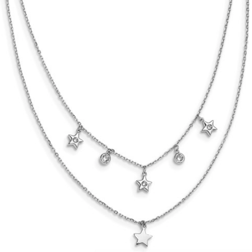Sterling Silver Rhodium Plated CZ Layered Stars With 2in Ext. Necklace