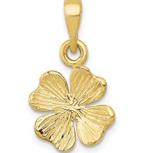 10k Gold Polished and Textured Four Leaf Clover Pendant