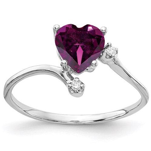 14k White Gold 6mm Heart Rhodolite Garnet A Diamond ring