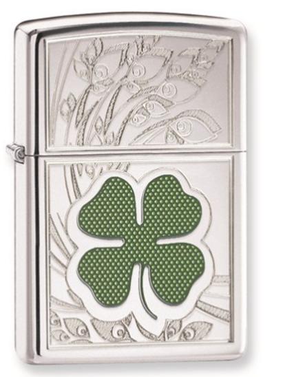 Zippo Four-Leaf Clover High Polish Chrome Lighter