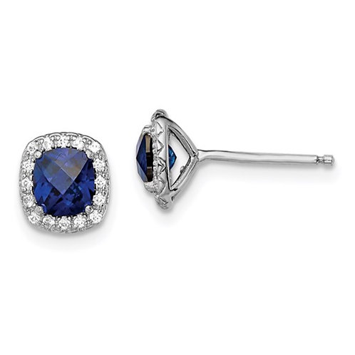 Sterling Silver Rhod-plated Created Blue/White Sapphire Post Earrings