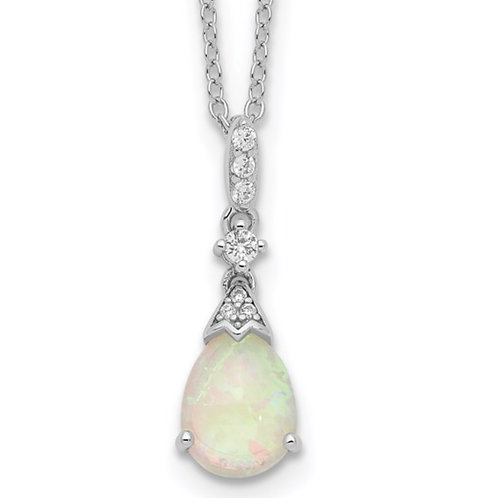 Cheryl M Sterling Silver Rhodium-plated Lab Created Pear Opal And CZ Necklace