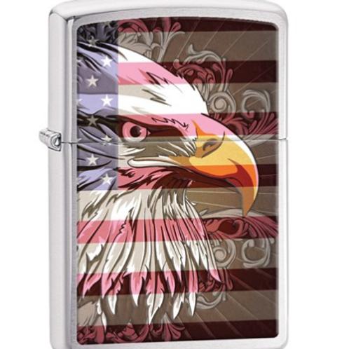 Zippo Eagle Flag Brushed Chrome Lighter