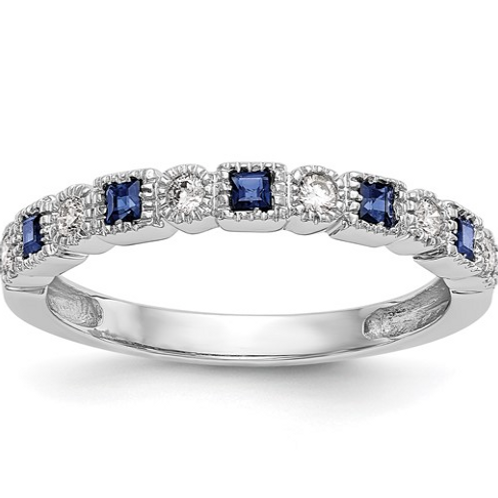 14k White Gold Diamond with Sapphire Band