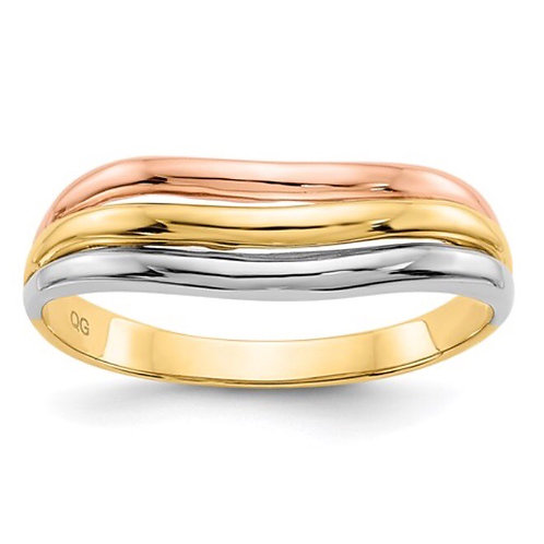 14K Tri-Color Open Fancy Ring