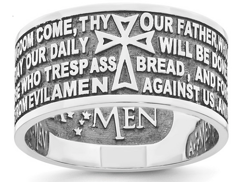 AMEN Sterling Silver Rhodium-plated Lord's Prayer Ring