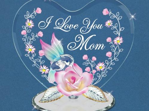 Glass Baron Hummingbird I Love You Mom Figurine