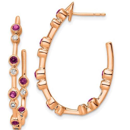 14KR TRUE ORIGIN LAB GROWN DIAMOND VS/SI, D E F, Pink Sapphire Earrings