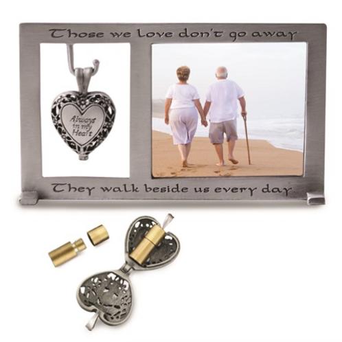 Always In My Heart Memorial Heart Ash Holder Locket Dangle 3x5 Photo Frame