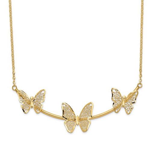 Leslie's 14K Polished Filigree 3-Butterfly Bar Necklace