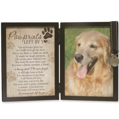 Pawprints Sentiment With Engravable Tag For Dog 5x7 Photo Memorial Frame