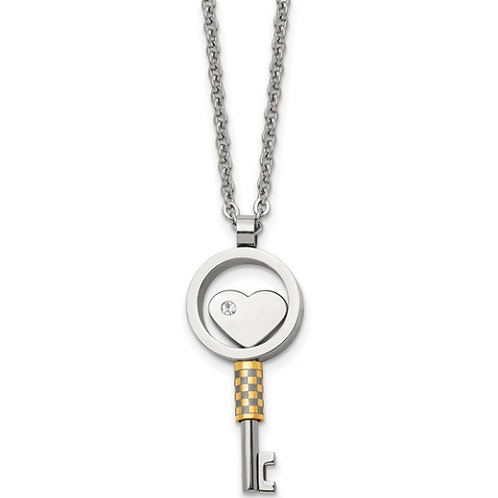 Stainless Steel Gold IP-plated Key with CZ Heart 22 inch Necklace