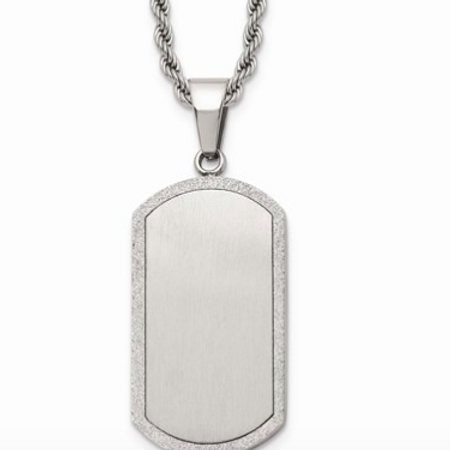 Stainless Steel Laser Cut Dog Tag Pendant Necklace