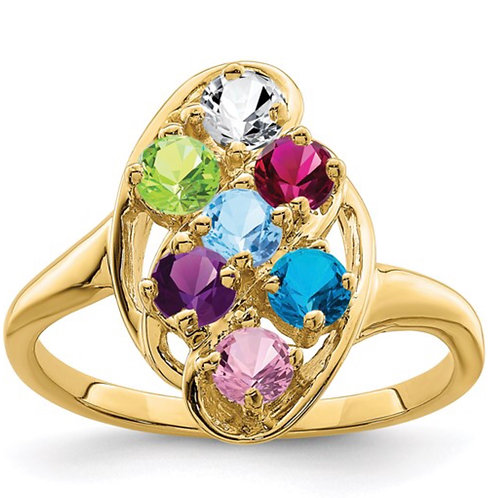 10ky Polished 7-Stone Mothers Ring Mounting