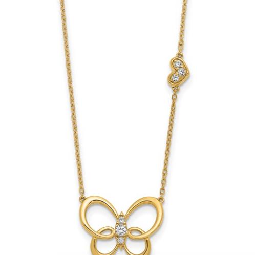 14k Diamond Butterfly 18in Necklace