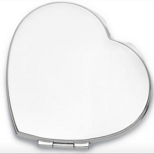 Silver-Tone Heart Shaped Compact Mirror