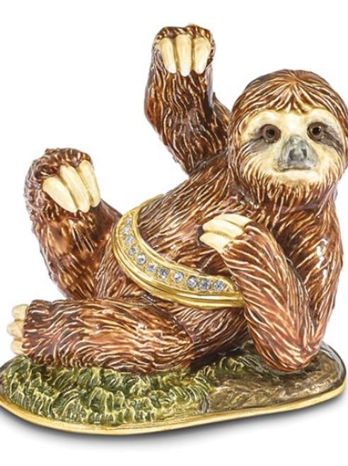 Bejeweled MELLOW Sloth Trinket Box