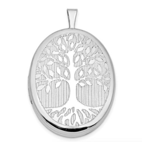 Sterling Silver Rhodium-Plated Oval Tree 26mm Locket
