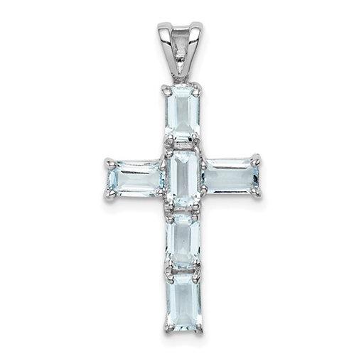 Sterling Silver Rhodium Plated Aquamarine Cross Pendant