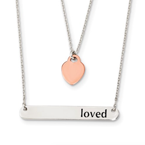 Sterling Silver Rose-Tone Heart Enameled LOVED 18in Bar Necklace