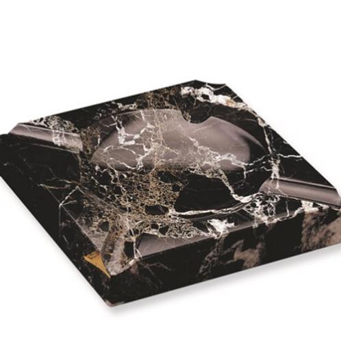 Black Solid Marble Square Cigar Ashtray