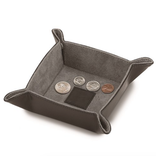 Black Snap Tray With Leather Center