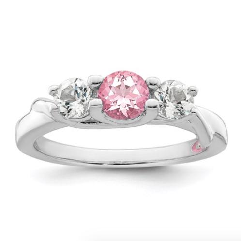 10k White Gold Survivor Collection Clear/Pink Swarovski Topaz Joanna Ring